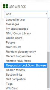 Add a Block drop-down menu