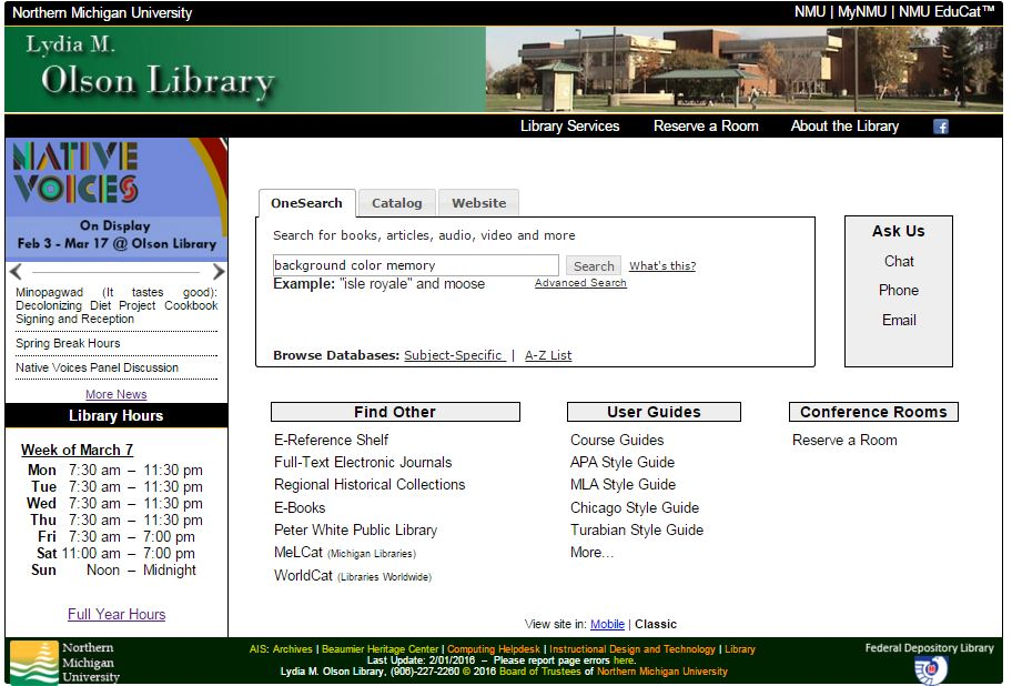library screen with onesearch terms original