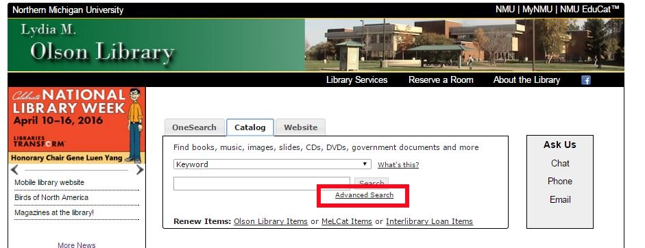 library homepage - catalog tab