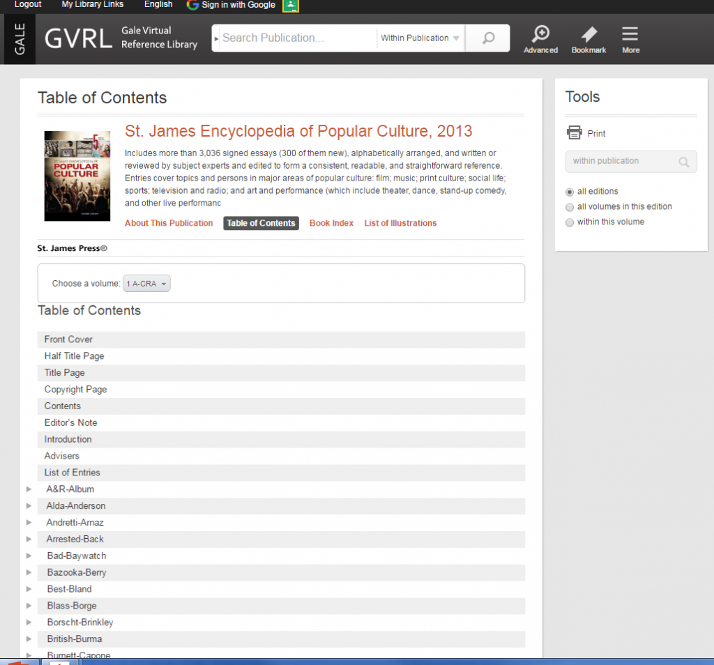GVRL encyclopedia of popular culture